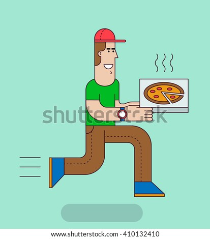 Delivery boy hurry to deliver the pizza. Food delivery service concept. Vector illustration. - stock vector