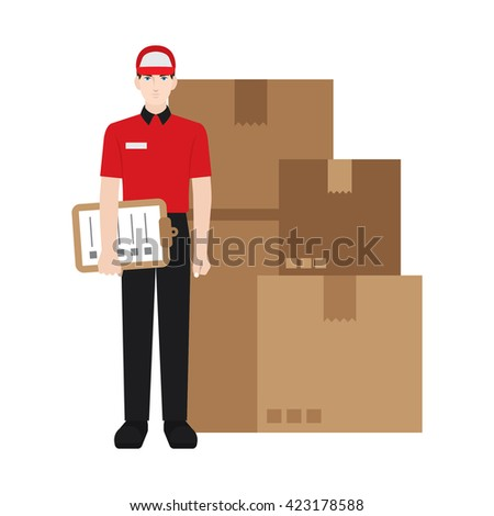 Delivery boy/ man vector illustration. Delivery courier checking the packages, character isolated on white background. - stock vector