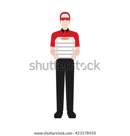 Delivery boy/ man vector illustration. Delivery courier delivering pizza, character isolated on white background. Front view. - stock vector