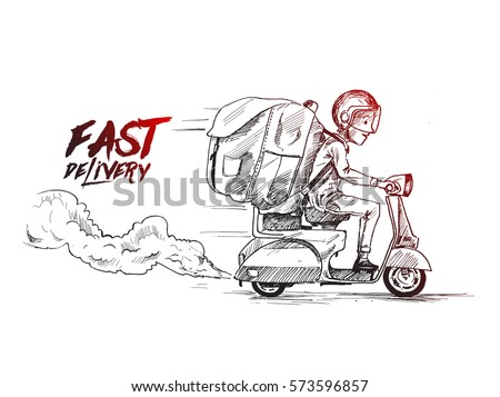 Delivery boy ride scooter delivery service , Order, Fast Shipping, Hand Drawn Sketch Vector Background.