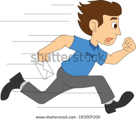 Delivery Boy Running with Letter - stock vector