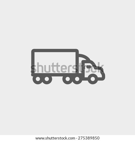 Delivery car icon thin line for web and mobile, modern minimalistic flat design. Vector dark grey icon on light grey background. - stock vector