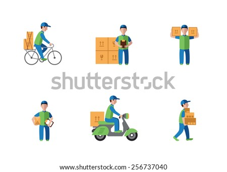 Delivery, courier, logistics flat style - stock vector
