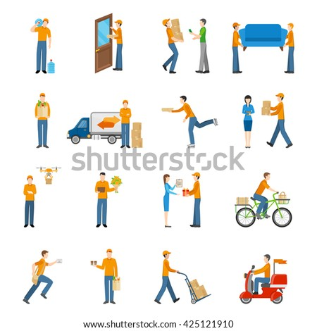 Delivery courier people delivering goods by different types of transport icons set on white background flat isolated vector illustration - stock vector