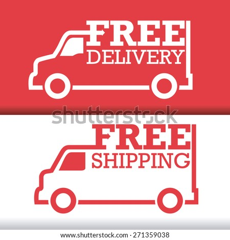 Delivery design over white and red  background, vector illustration. - stock vector