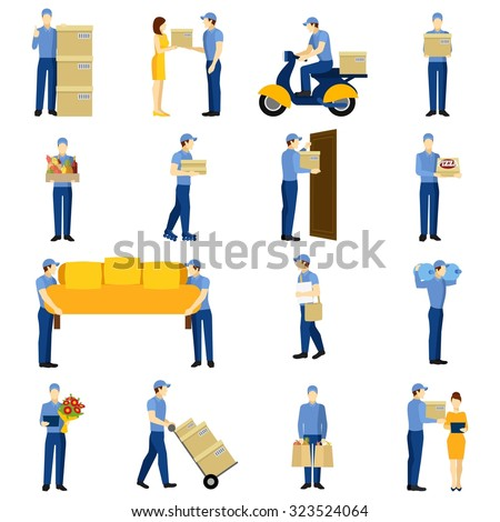 Delivery flat icons set with man silhouettes isolated vector illustration - stock vector