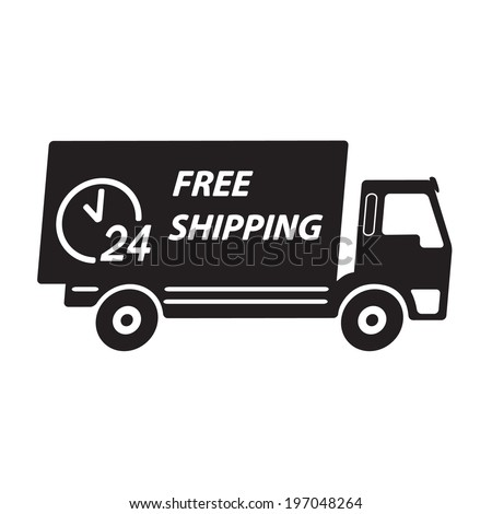 Delivery icon or sign. Free shipping truck. Vector.