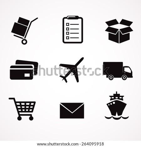 Delivery icon set. Vector art. - stock vector