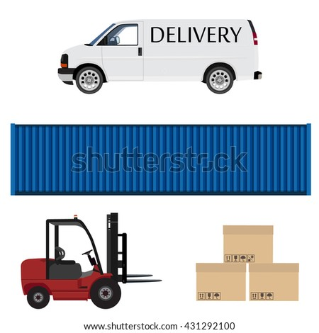 Delivery icon set. White delivery van. Express delivery. Loader car, blue cargo container and three carton boxes with shipping symbols vector illustration. Delivery service. - stock vector