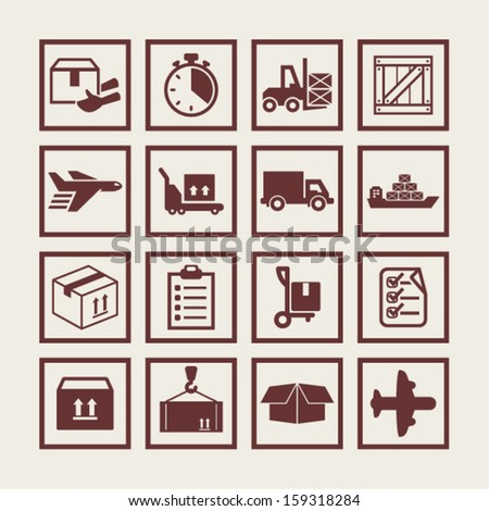 Delivery icons - stock vector