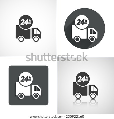 Delivery icons 24h. Set elements for design. Vector illustration - stock vector