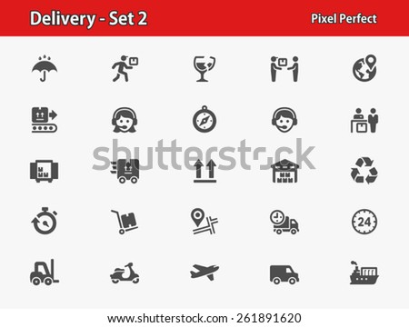 Delivery Icons. Professional, pixel perfect icons optimized for both large and small resolutions. - stock vector