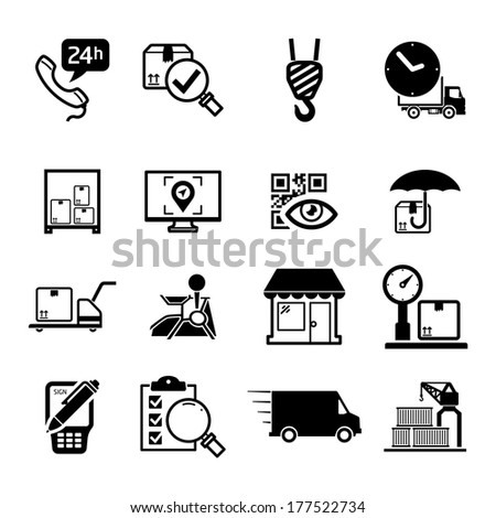 Delivery icons set / Black - stock vector