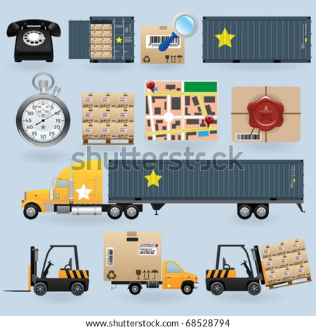 Delivery icons set for web design - stock vector