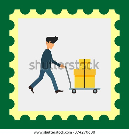 Delivery man carrying boxes on trolley