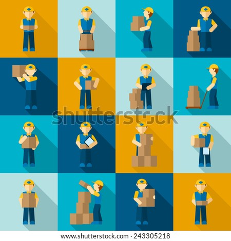 Delivery man courier job merchandise business icon flat set isolated vector illustration - stock vector