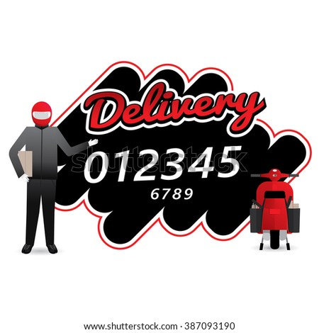 Delivery man courier service with call number icon. Vector illustration