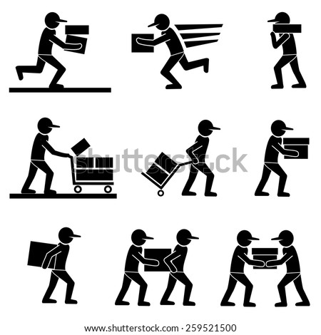 Delivery man icons.vector - stock vector
