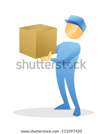 Delivery man illustration - stock vector