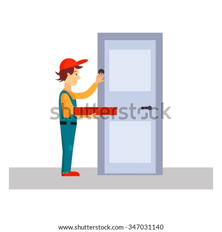 Delivery Man Knocking at Door, Flat Vector Illustration  - stock vector