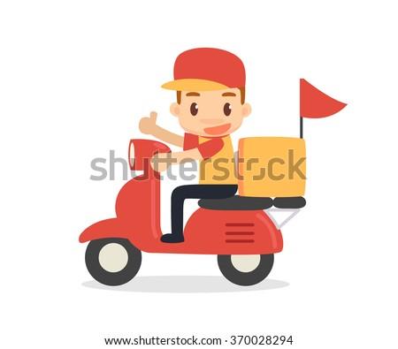 Delivery man. Vector flat design. - stock vector