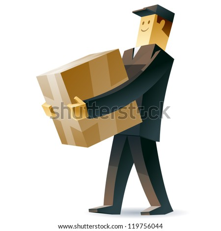 Delivery man. Vector illustration of a postman with a crate and documents - stock vector