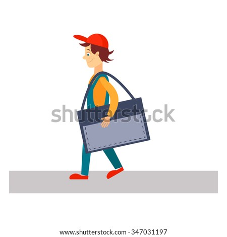 Delivery Man  with a Folder, Flat Vector Illustration