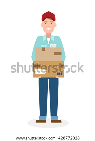 Delivery man with parcel. Fast transportation. Isolated cartoon character on white background. Postman, courier with package. Concept of online shopping and moving. - stock vector