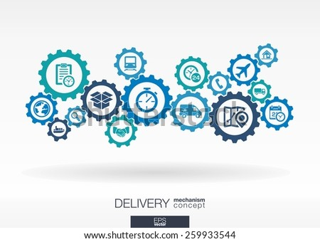 Delivery mechanism concept. Abstract background with connected gears and icons for logistic, service, shipping, distribution, transport, market, communicate concepts. Vector interactive illustration - stock vector
