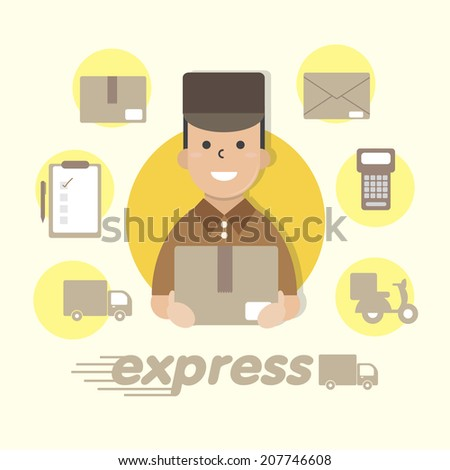 Delivery messenger - vector  - stock vector