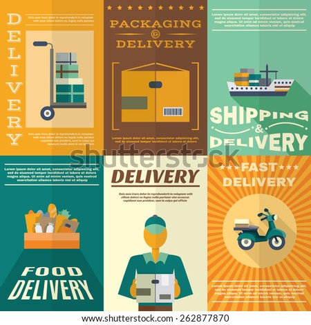 Delivery mini poster set with fast food packaging and shipping signs isolated vector illustration - stock vector