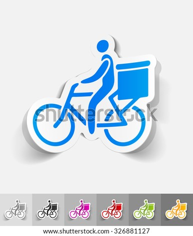 delivery of goods by bicycle paper sticker with shadow. Vector illustration