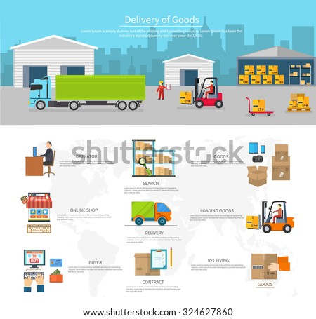 Delivery of goods logistics and transportation. Buyer and contract, loading and search, operator shop on-line, logistic and transportation, warehouse service illustration - stock vector