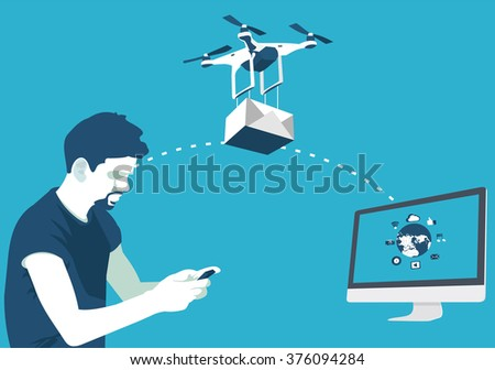 delivery of parcels by drone in vector format eps10 - stock vector