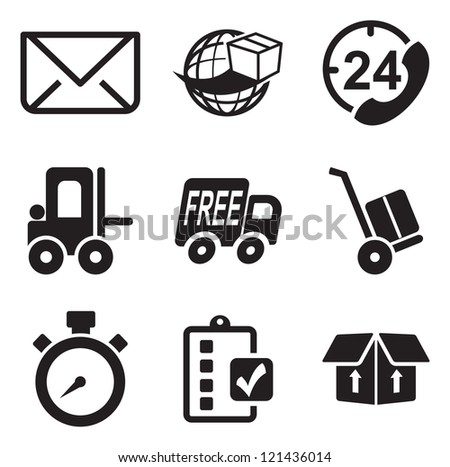 Delivery or Shipping Icons - stock vector