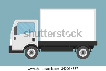 Delivery or small truck. Flat style