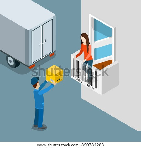 Delivery package to home door flat 3d isometric shopping concept web vector illustration. Deliveryman handle