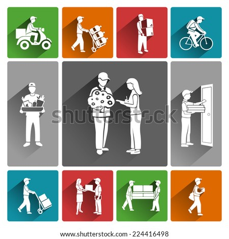 Delivery person courier mail parcel service icons white set isolated vector illustration - stock vector