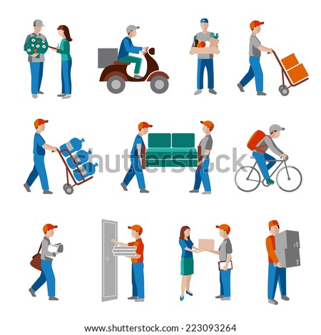 Delivery person freight logistic business industry icons flat set isolated vector illustration. - stock vector