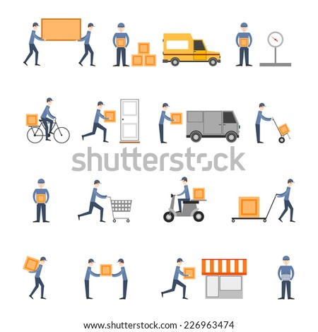 Delivery person freight logistic business service icons flat set isolated vector illustration - stock vector