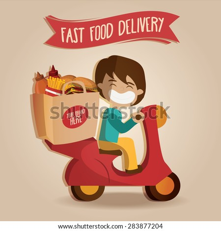 Delivery person on scooter with paper bad fast food, fast service. vector illustration - stock vector