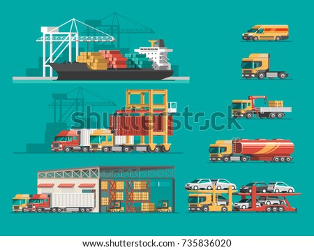 Delivery service concept. Container cargo ship loading, truck loader, warehouse, plane, train. Flat style vector illustration.