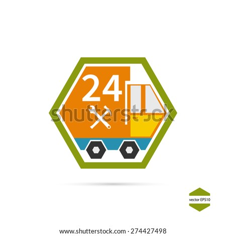 Delivery, service, emergency service, 24 hours. Icon auto, truck. Vector Illustration. - stock vector