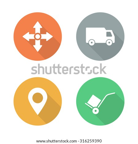 Delivery service flat design icons set. Logistics storehouse color signs. Package transportation long shadow symbols. Cargo vehicle and hand truck silhouette labels. Vector infographics elements   - stock vector