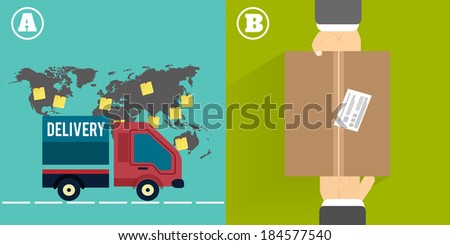 Delivery service 24 hours . Cargo truck symbol on multicolor background - stock vector