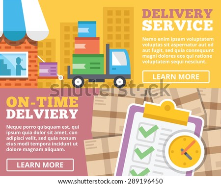 Delivery service, on-time delivery flat illustration concepts set. Flat design concepts for web banners, web sites, printed materials, infographics. Creative vector illustration - stock vector