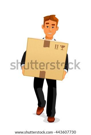 Delivery service, postal carrier or postman professions design. Elegant young man cartoon character in black business suit is delivering a parcel to recipient - stock vector