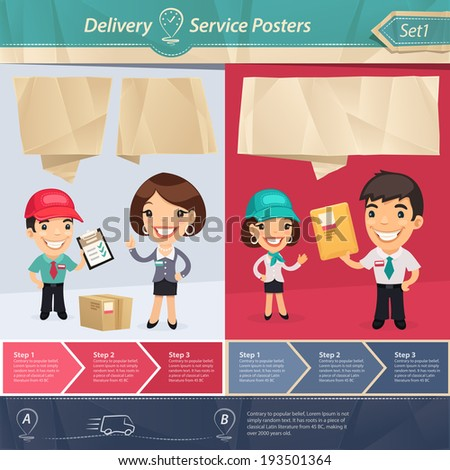 Delivery Service Posters. In the EPS file, each element is grouped separately. - stock vector