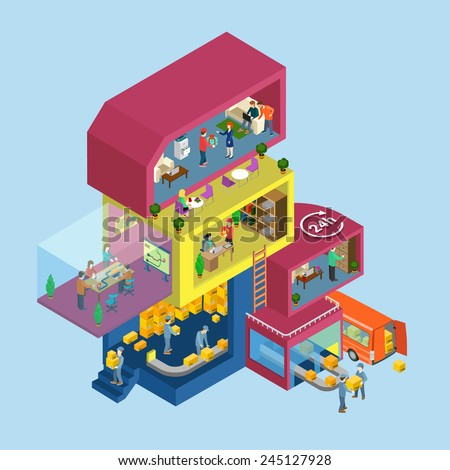 Delivery service process office flat 3d web isometric infographic concept vector. Exterior and interior isometry rooms with people staff workers. Warehouse management. Creative people collection. - stock vector