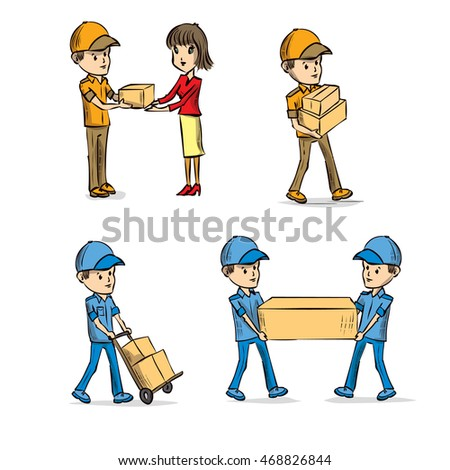 Delivery service set. Hand drawn cartoon vector illustration.